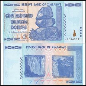 Zimbábue Cédula 100 Trilhões Trillion Dolares P-91 Fe Cpn