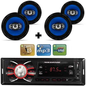 Kit 4 Auto Falante 6 Pol + Radio Carro Mp3 Usb+ Antena Fm
