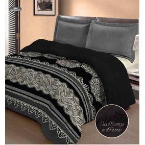 Cobertor Con Borrega Negro Estampado King Size Modelo Mali