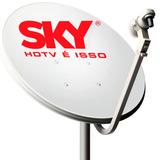 Antena Banda Ku Hd Sky 60cm + C/ Cabos E Todos Acessórios