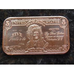 Onza De Cobre Puro - Billete Americano De 5 Dolares Moneda