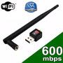 Adaptador Wireless Usb Wifi 600mbps Sem Fio Lan B/g/n Antena