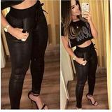 Calça Legging Plus Size Disco Hot Pants Brilho Saruel Bolsos