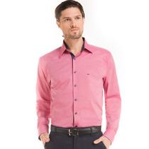 Camisa Slim Masculina Rosa Gravataria Buon Giorno Ari