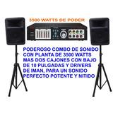 Planta 3500w + 2 Cajones 10 Pulg + 2 Paral, Power Y Cornetas