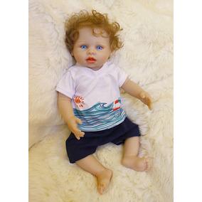 Bebê Reborn Menino Inteiro De Silicone Olhos Azuis Enc