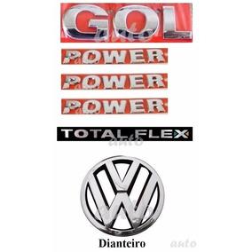 Emblemas Gol Power Flex + Laterais + Vw Grade - G4 Geração 4