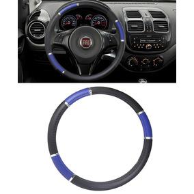Capa Volante Auto Preto/azul Anel Crom. Palio 2000/...