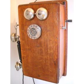 Telefono De Pared Antiguo Ericsson Sweden Roble Magneto Ut