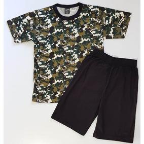 809b195aa6 Pijama Camiseta Camuflada Bermuda Tigor T. Tigre Tam 04 E 10