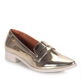Sapato Mocassim Feminino Quiz - Dourado(a)