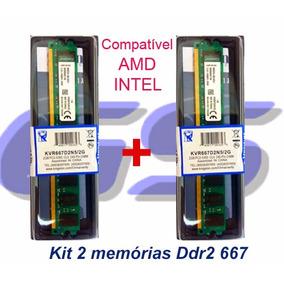 Kit 2 Memórias Kingston Ddr2 667mhz Total 4gb Chip 2 Lados