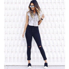 Hot Pants Ladyrock Calça Jeans Cintura Alta Alto Destroyed