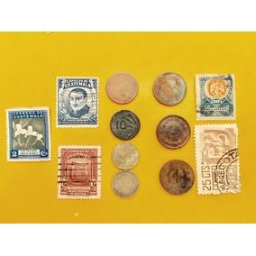 7 Monedas Antiguas México Y Guatemala Timbres Flete Gratis