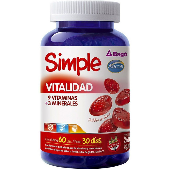 Simple Vitalidad 60 Pastillas Vitaminas Minerales Bago Arcor