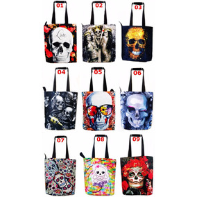Atacado 10 Bolsas De Nylon Caveiras Rock Hq Whatsapp Escolar