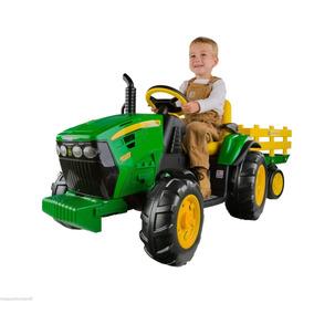 Carrito Tractor Electrico Niños Peg Perego Verde Bateria