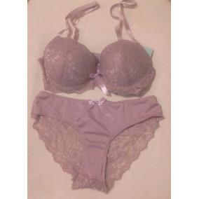 Set 2pzas Brasier 34b+bikini Med Tela Satinada Encaje Brillo