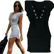 Vestido Trançado Curto Mini Amarração Preto Cinza Listrado