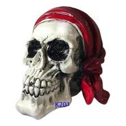 Caveira Cranio Decorativo Lenço Vermelho Halloween Promoção