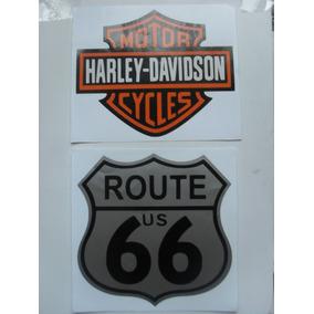 2 Adesivos Stickers Harley Davidson E Route Us 66 Moto Carro