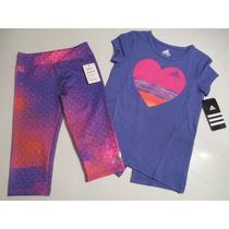 Conjunto Adidas Niña Calza Y Remera Violeta Y Fucsia Talle 4