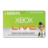 Tarjeta De Vales De Membresía De Oro De Xbox Live One Month