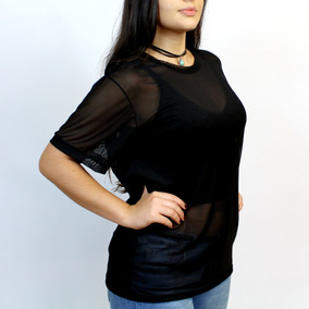 Tshirt Tule Camiseta Feminina Roupa Thule Transparente Preta