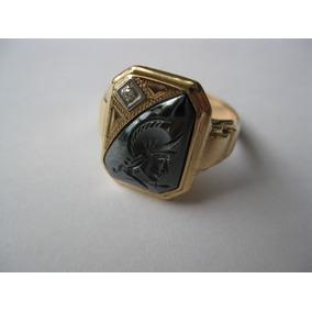 Anel Masculino Ouro Sólido 10k Diamante E Hematita Esculpida