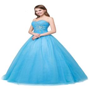 Vestido Debutante Festa 15 Anos 2465 Noivas Azul Promoção