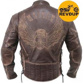 Jaqueta Casaco 100%couro Burfalo Moto Marrom Estonado Harley