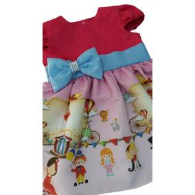 Vestido Circo Festa Infantil Lindo Exclusivo Tam. 01 Ao 06