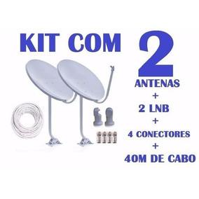 Kit 2 Antenas Banda Ku + Lnb Simples Universal (completa)