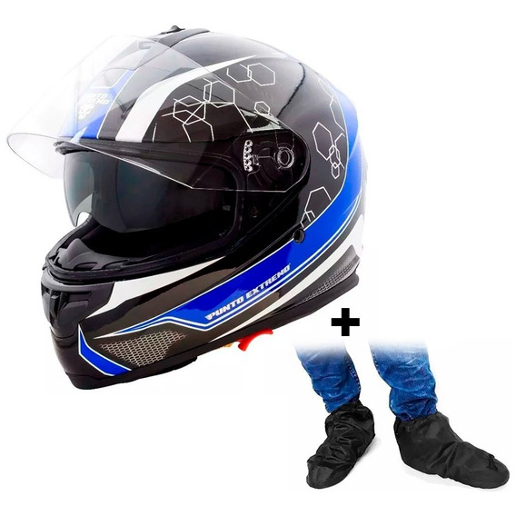 Casco Integral Ff300 D Visor Pto Extremo Azul + Galochas Sti