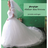 Lindíssimo Vestido De Noiva Pronta Entrega+ Véu De Brinde