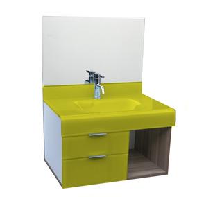 Pia P/ Banheiro Lavatório De Vidro - Stetiun 80x46cm Amarelo