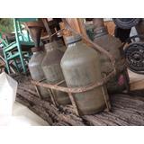 Antiguo Canasto Y Botellas De Ancap