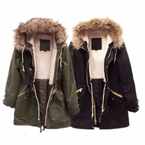 Campera Parka Militar Corderito Piel Deluxe The Big Shop