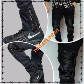 Jeans Destroyer Negro Cierre En El Tobillo / Envío Gratis