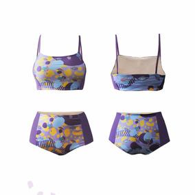 Bikini Estampado Tiro Alto Combinación Lila - Ilustre
