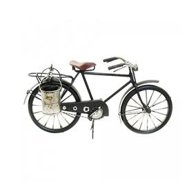 Bicicleta Preta Com Carga 30 Cm Estilo Retrô Vintage