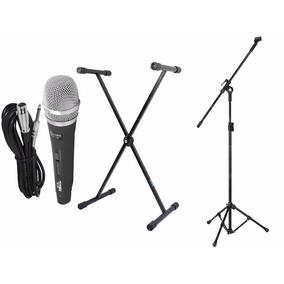 Estante Suporte P/ Teclado + Pedestal+ Microfone Sc-226