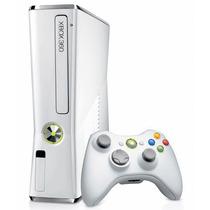 Xbox 360 Slim Branco 2 Controles E 10 Jogos Garantia 6 Meses