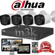 Kit Seguridad Dahua Full Hd Dvr 4 + 4 Camaras Infrarrojas Bullet Exterior O Domo Interior + Ip Celular Cctv P2p