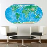 Bondai Vinilo Decorativos Mapa Mundi Mundo Color Planisferio