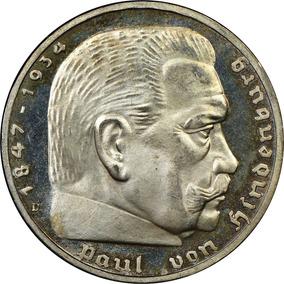 Moneda De Plata Alemania 5 Reischmark Bañada En Oro !!