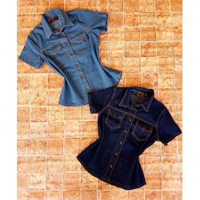 Camisas De Jeans Manga Corta Strech Dama