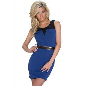 Sexy Mini Vestido Azul Con Negro Con Cinturón 22073