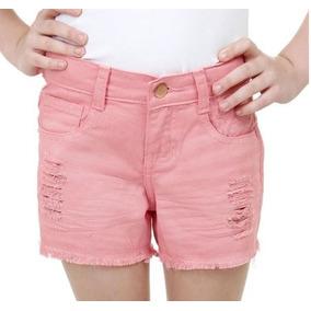 Shorts Infantil Jeans Color Puídos Queima D Estoque Barato