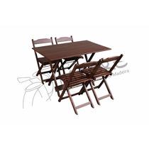 Conjunto Mesa 120x70 Com 4 Cadeiras Dobráveis Madeira